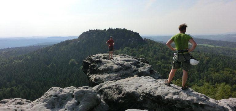 zwei Kletterer im Elbi