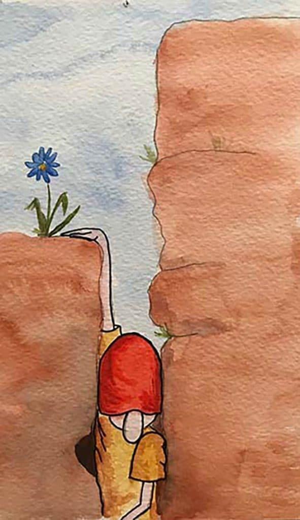 Zeichnung Kletterer im Kamin
